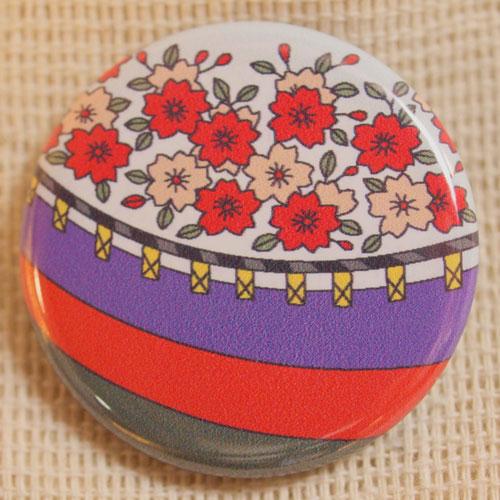 画像1: 花札缶バッジ『三月(桜に幕)』 (1)