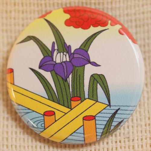 画像1: 花札缶バッジ『五月(菖蒲に八橋)』 (1)